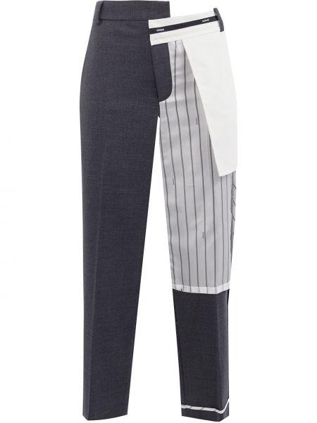 Шерстяные серые укороченные брюки с карманами пэчворк Monse