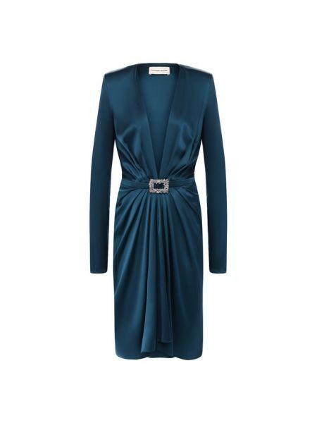 Платье с поясом серое с декольте Alexandre Vauthier