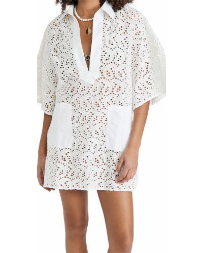Белое платье свободного кроя с декольте Sundress
