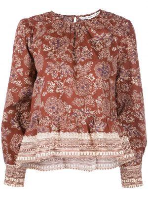 Коричневая хлопковая блузка Veronica Beard