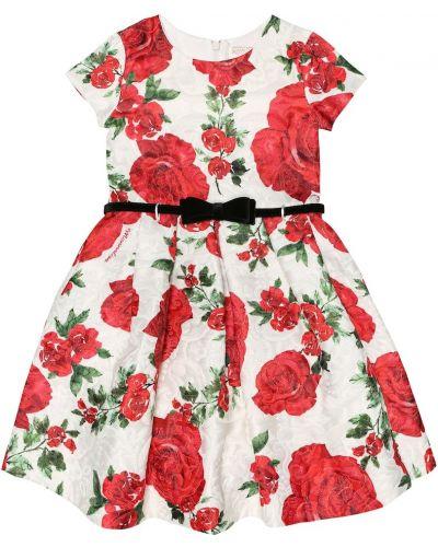 Платье с цветочным принтом из парчи Monnalisa