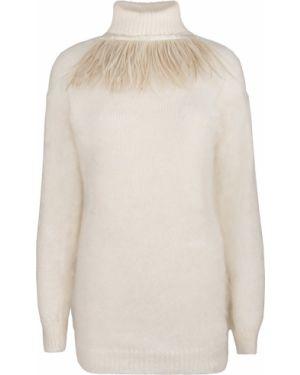 С рукавами белый шерстяной свитер с воротником A La Russe