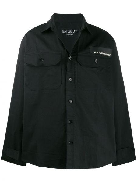 Классическая черная рубашка с нашивками на пуговицах Not Guilty Homme