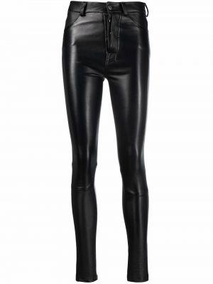 Облегающие кожаные черные брюки Manokhi