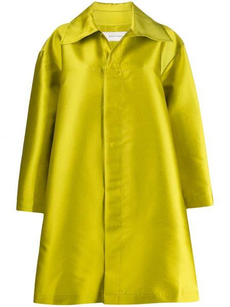 Зеленое длинное пальто оверсайз с капюшоном Marques'almeida