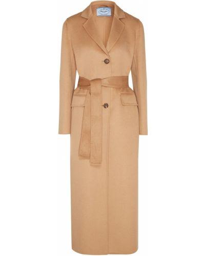 Длинное пальто бежевое пальто-халат Prada
