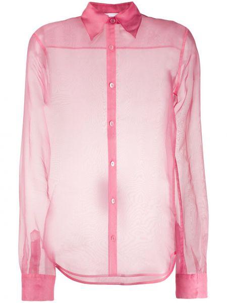 Рубашка с длинным рукавом в полоску без воротника Helmut Lang