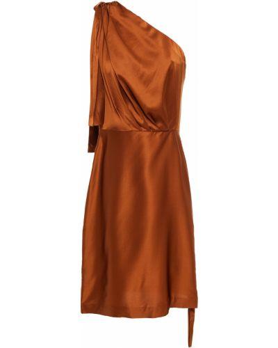 Платье мини атласное - коричневое Retrofete