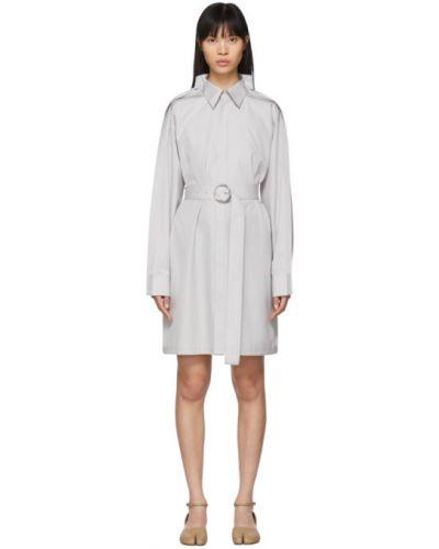 Белое платье макси с длинными рукавами с поясом с воротником Maison Margiela