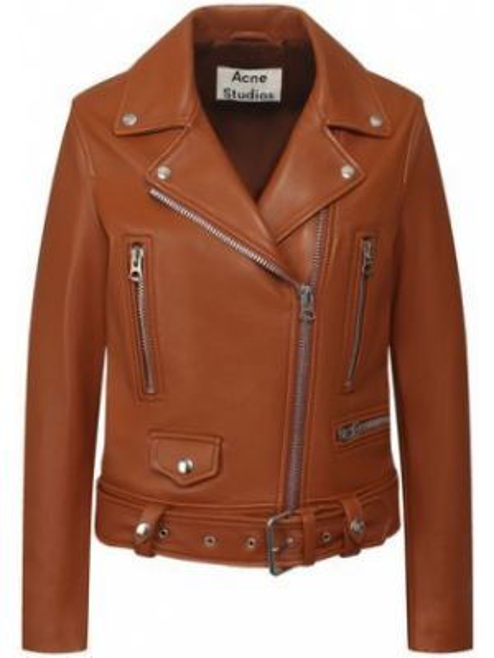 Коричневая кожаная куртка с подкладкой из вискозы Acne Studios