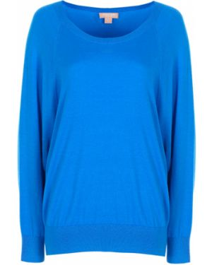 Шерстяной синий свитер свободного кроя с круглым вырезом Michael Kors