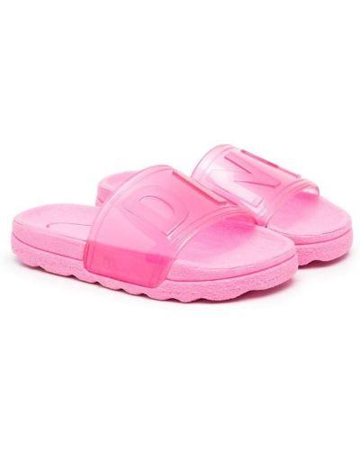 Розовые открытые шлепанцы с открытым носком Dkny Kids