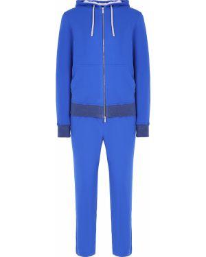 Синий спортивный костюм с поясом на молнии Capobianco