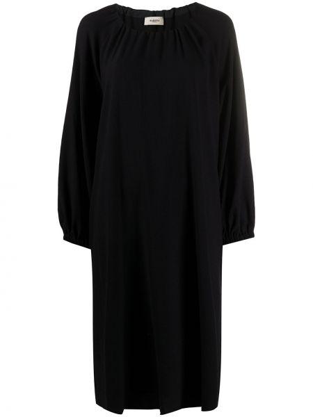 Черное плиссированное платье миди с вырезом круглое Barena