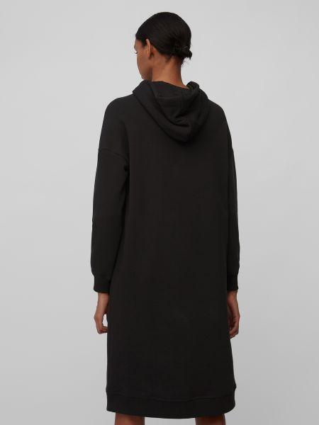 Черное платье макси с капюшоном в рубчик Marc O'polo