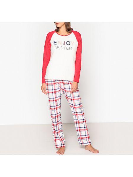 Пижама с брюками фланелевая с надписью La Redoute Collections