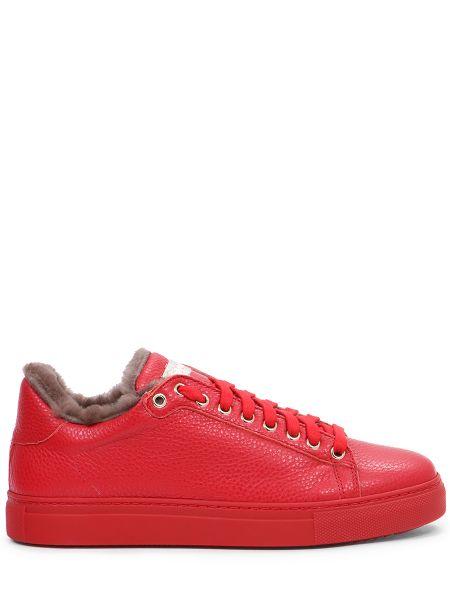 Кожаные красные кеды на шнуровке с подкладкой Stokton