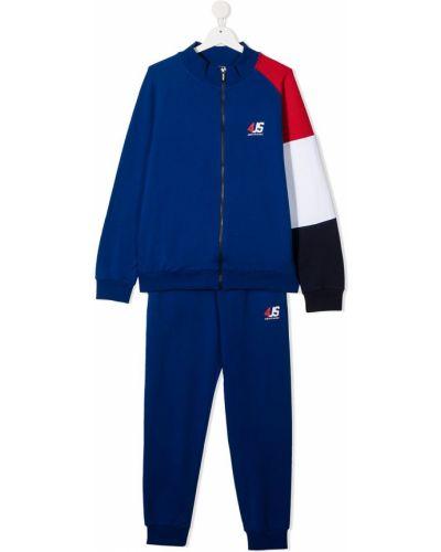 Синий костюмный спортивный костюм с вышивкой с рукавом реглан Cesare Paciotti 4us Kids