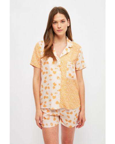 Piżama z wiskozy - pomarańczowa Trendyol