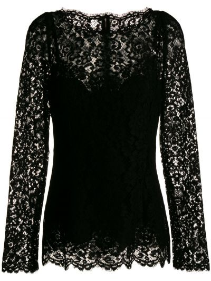 Czarna bluzka koronkowa z wiskozy Dolce And Gabbana