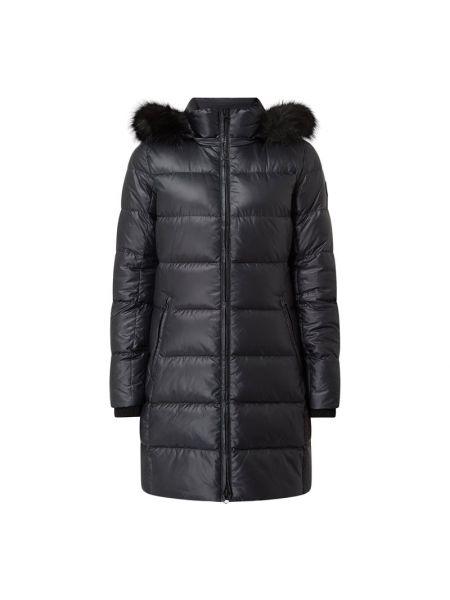 Czarny płaszcz z kieszeniami z zamkiem błyskawicznym z mankietami Ck Calvin Klein
