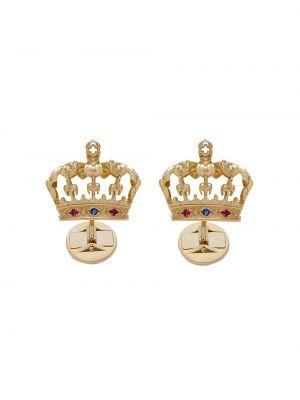 Золотистые синие запонки c сапфиром Dolce & Gabbana