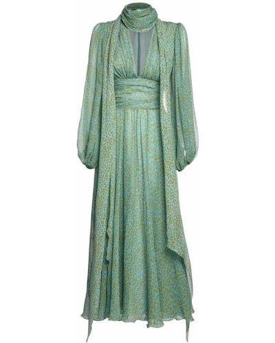 Шифоновое платье миди с воротником с манжетами Luisa Beccaria