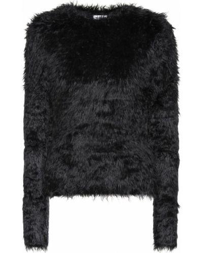 Czarny miękki sweter sztuczne futro z ozdobnym wykończeniem Balenciaga