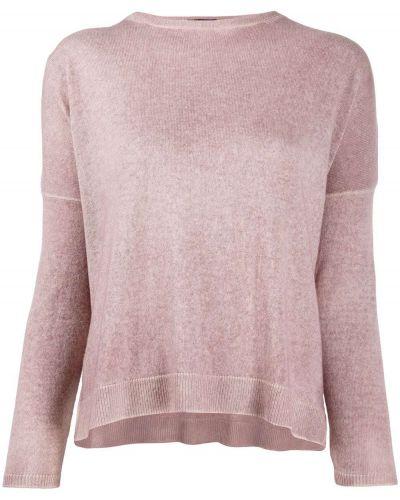 Кашемировый розовый джемпер в рубчик с круглым вырезом Avant Toi