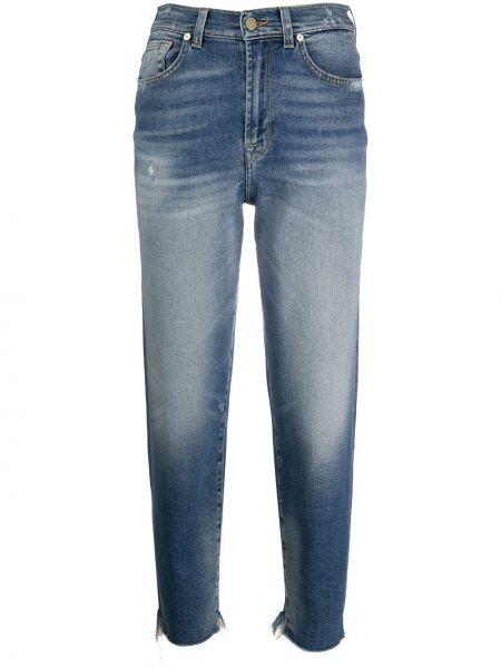 Хлопковые синие укороченные джинсы с нашивками 7 For All Mankind