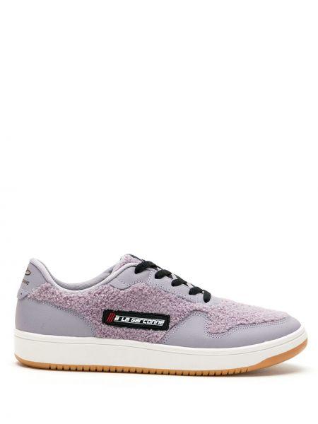 Фиолетовые кроссовки на шнуровке круглые латексные à La Garçonne