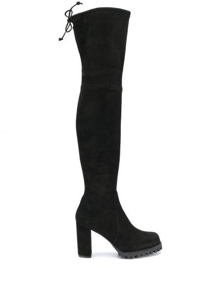 Черные сапоги на шпильке на каблуке из натуральной кожи Stuart Weitzman