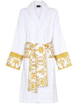 Biały długi szlafrok bawełniany z printem Versace