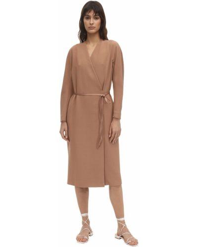 Шерстяное розовое пальто с поясом Agnona