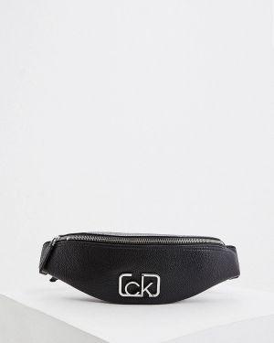 Кожаная сумка поясная черная Calvin Klein