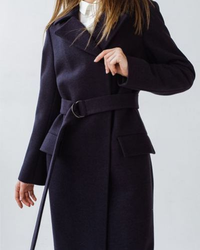 Серое шерстяное пальто с запахом Vovk