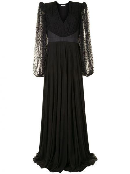 Jedwab ażurowy czarny sukienka z rękawem z dekoltem w szpic Givenchy
