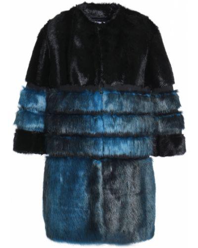 Черное пальто из искусственного меха с подкладкой Ainea