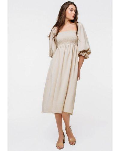 Бежевое платье с открытыми плечами Magnetic