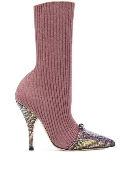 Розовые вязаные шерстяные носки Marco De Vincenzo