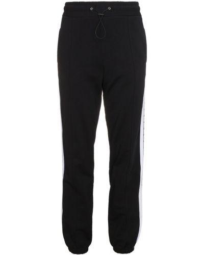 Спортивные брюки в полоску с полоской по бокам с отворотами Msgm