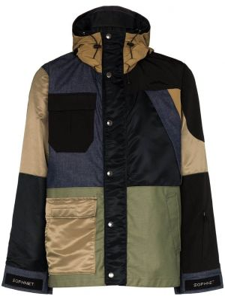 Нейлоновая куртка с капюшоном пэчворк свободного кроя с карманами Sophnet.