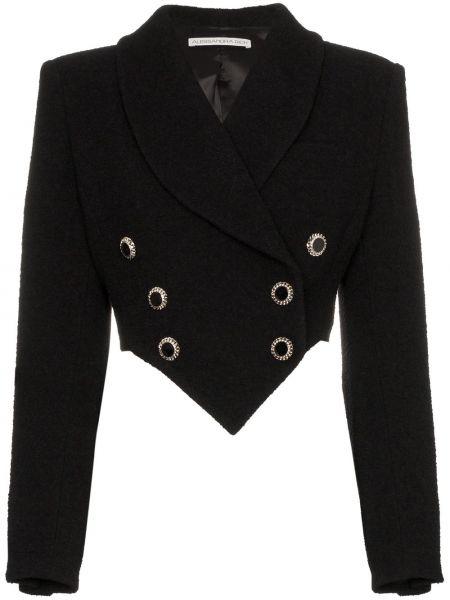Однобортный черный удлиненный пиджак с воротником Alessandra Rich