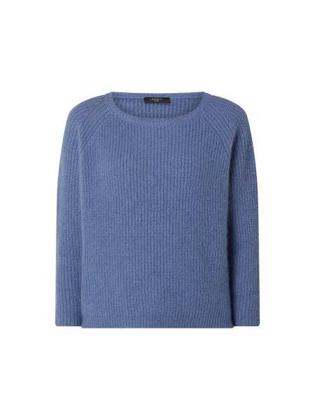 Prążkowany niebieski sweter moherowy Weekend Max Mara