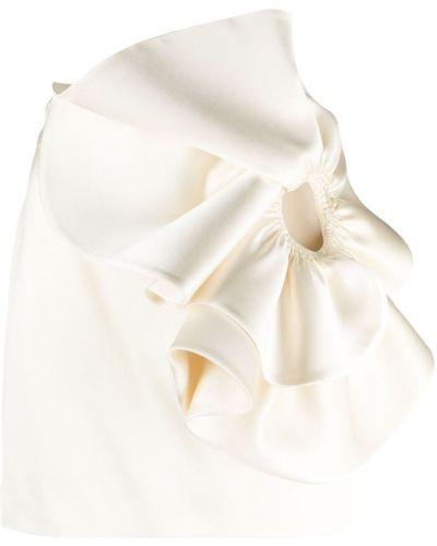Шерстяная белая юбка мини с оборками Magda Butrym