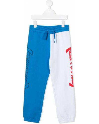 Niebieskie spodnie bawełniane z printem Stella Mccartney Kids