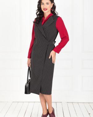 Платье с поясом платье-сарафан черное Taiga