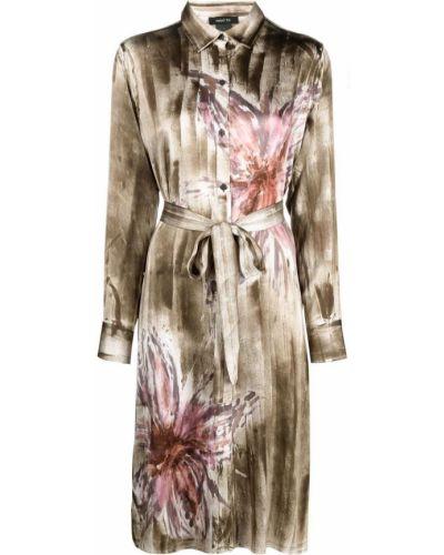 Коричневое шелковое платье миди в цветочный принт Avant Toi