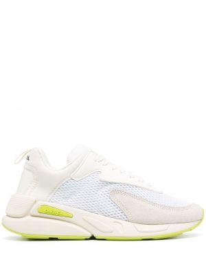 Белые кроссовки на каблуке на шнурках Diesel