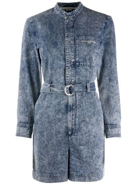 Хлопковый синий джинсовый комбинезон с поясом на кнопках Stella Mccartney